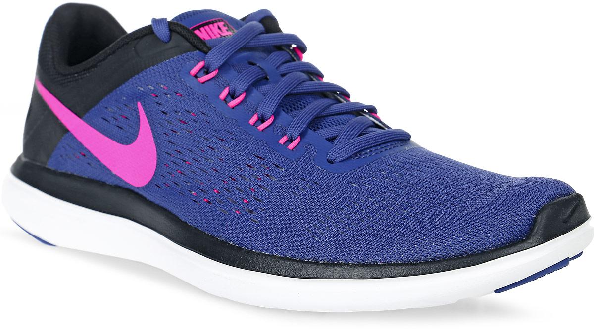 Кроссовки830751-500Кроссовки Nike Flex 2016 RN из сетчатого текстиля с полимерным покрытием. Технология Flex гарантирует оптимальную амортизацию. Шнуровка на подъеме, съемная стелька.