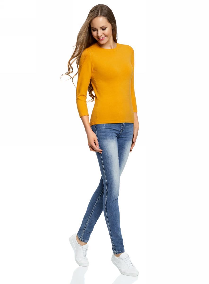 Джемпер женский oodji Ultra, цвет: желтый. 63812579-1B/38149/5200N. Размер S (44)63812579-1B/38149/5200NДжемпер oodji изготовлен из качественного смесового материала. Модель выполнена с круглым вырезом и рукавами 3/4.