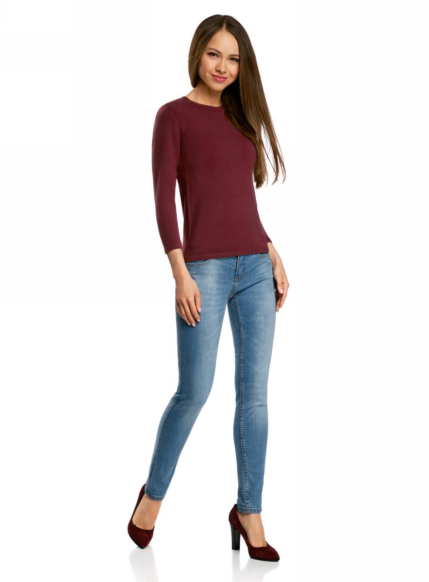 Джемпер женский oodji Ultra, цвет: бордовый. 63812579-1B/38149/4900N. Размер L (48)63812579-1B/38149/4900NДжемпер oodji изготовлен из качественного смесового материала. Модель выполнена с круглым вырезом и рукавами 3/4.