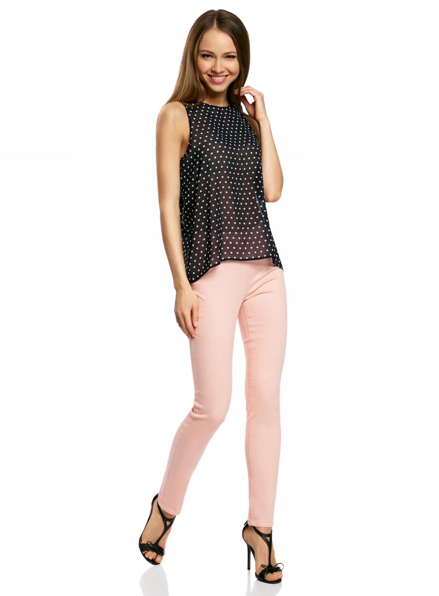 Блузка11411160/38375/2340FБлузка женская oodji Ultra выполнена из высококачественного материала. Модель с круглым вырезом горловины. Спинка блузки удлинена.