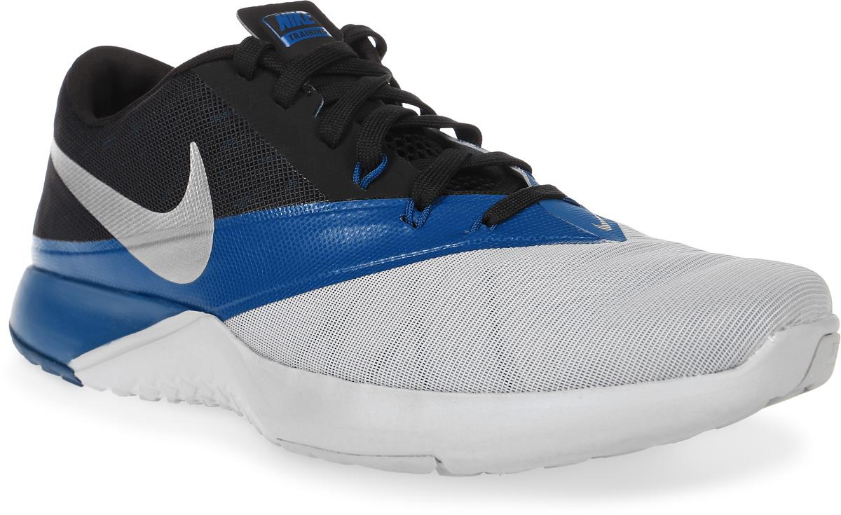 Кроссовки для фитнеса мужские Nike FS Lite Trainer 4, цвет: серый, синий, черный. 844794-006. Размер 9 (42)844794-006Мужские кроссовки для фитнеса FS Lite Trainer 4 от Nike выполнены из текстиля и дополнены бесшовными накладками из ПВХ. Технология Flywire с рисунком Звенья цепи обеспечивает надежную фиксацию. Подкладка и стелька из текстиля комфортны при движении. Шнуровка надежно зафиксирует модель на ноге. Подошва из материала двойной плотности обеспечивает амортизацию для боковых рывков. Резиновая подметка со специальными зонами и рельефным рисунком протектора обеспечивает сцепление с поверхностью.
