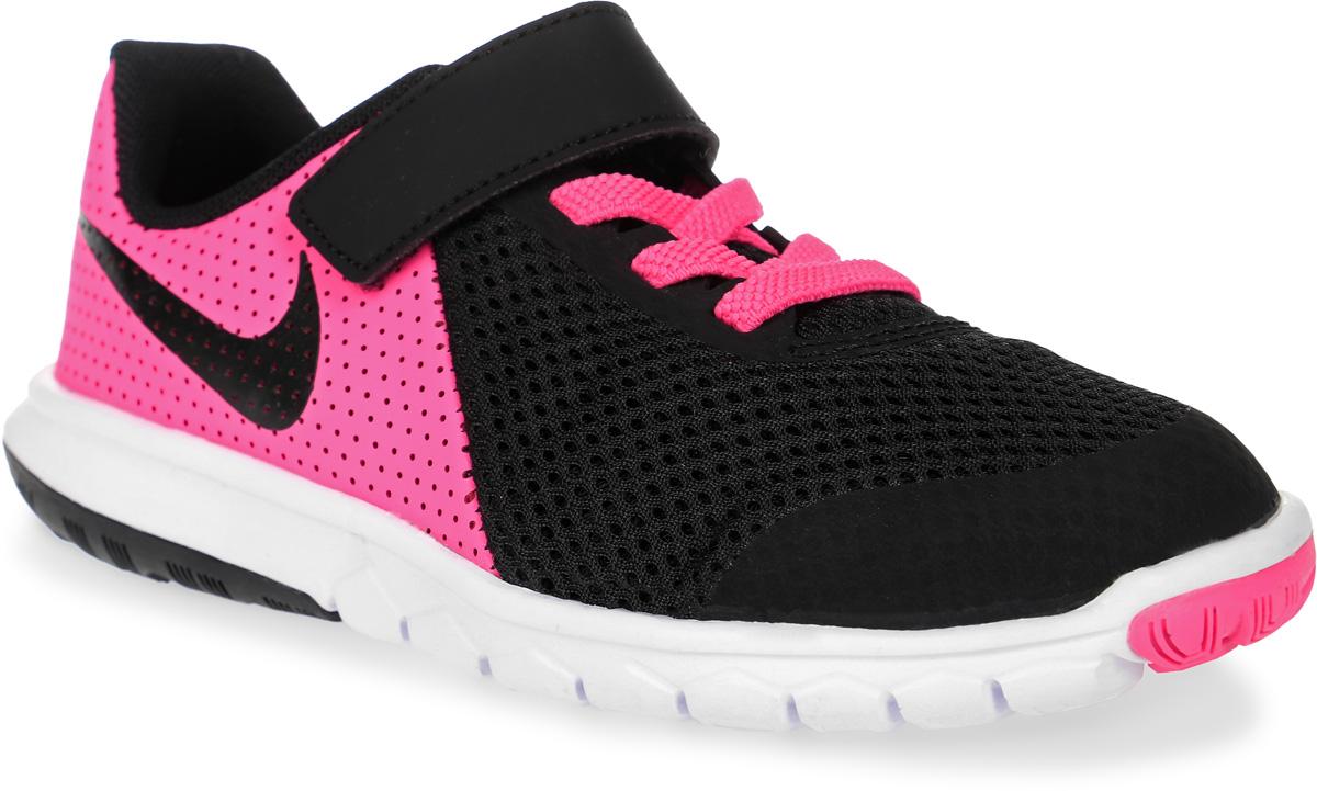 Кроссовки детские Nike Flex Experience 5, цвет: розовый, темно-серый. 844992-600. Размер 11 (27,5)844992-600Стильные детские кроссовки Flex Experience 5 от Nike выполнены из дышащего сетчатого материала и натуральной кожи, оформленной перфорацией, и дополнены бесшовными накладками. Внутренняя поверхность и стелька из текстиля комфортны при движении. Эластичная шнуровка и ремешок с застежкой-липучкой надежно зафиксирует модель на ноге. Промежуточная подошва обеспечивает дополнительную амортизацию. Шестигранные эластичные желобки на подошве гарантируют максимально естественные движения.