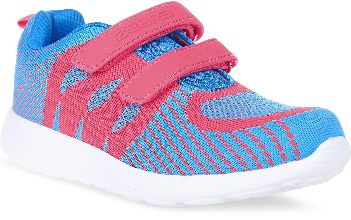 Кроссовки для девочки Зебра, цвет: голубой, розовый. 10122-6. Размер 3110122-6Кроссовки Зебра выполнены из текстиля, который обеспечит воздухообмен. На ноге модель фиксируется с помощью двух ремешков с застежками-липучками, один из которых оформлен надписью с названием бренда. Внутренняя поверхность выполнена изсетчатого текстиля, комфортного при движении. Съемная анатомическая стелька из мягкого ЭВА-материала с поверхностью из натуральной кожи оснащена супинатором с перфорацией, который обеспечивает правильное положение стопы ребенка при ходьбе и предотвращает плоскостопие. Анатомическая стельказащищает стопу от развития деформаций, уменьшает общую утомляемость ноги придает дополнительную устойчивость и легкость при ходьбе. Подошва изготовлена из легкого и пластичного филона, а ее рельефная поверхность гарантирует отличное сцепление.