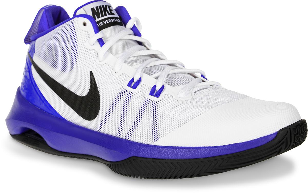 Кроссовки для баскетбола мужские Nike Air Versitile, цвет: белый, синий. 852431-101. Размер 8 (40,5)852431-101Кроссовки для баскетбола Air Versitile от Nike выполнены из легкого дышащего текстиля с поддерживающими полимерным накладками. Шнуровка надежно зафиксируют модель на ноге. Текстильная подкладка и стелька Solarsoft комфортны при движении. Воздушная подушка Max Air обеспечивает защиту от ударных нагрузок. Износостойкая подошва из материала Phylon для амортизации и надежного сцепления с поверхностью.
