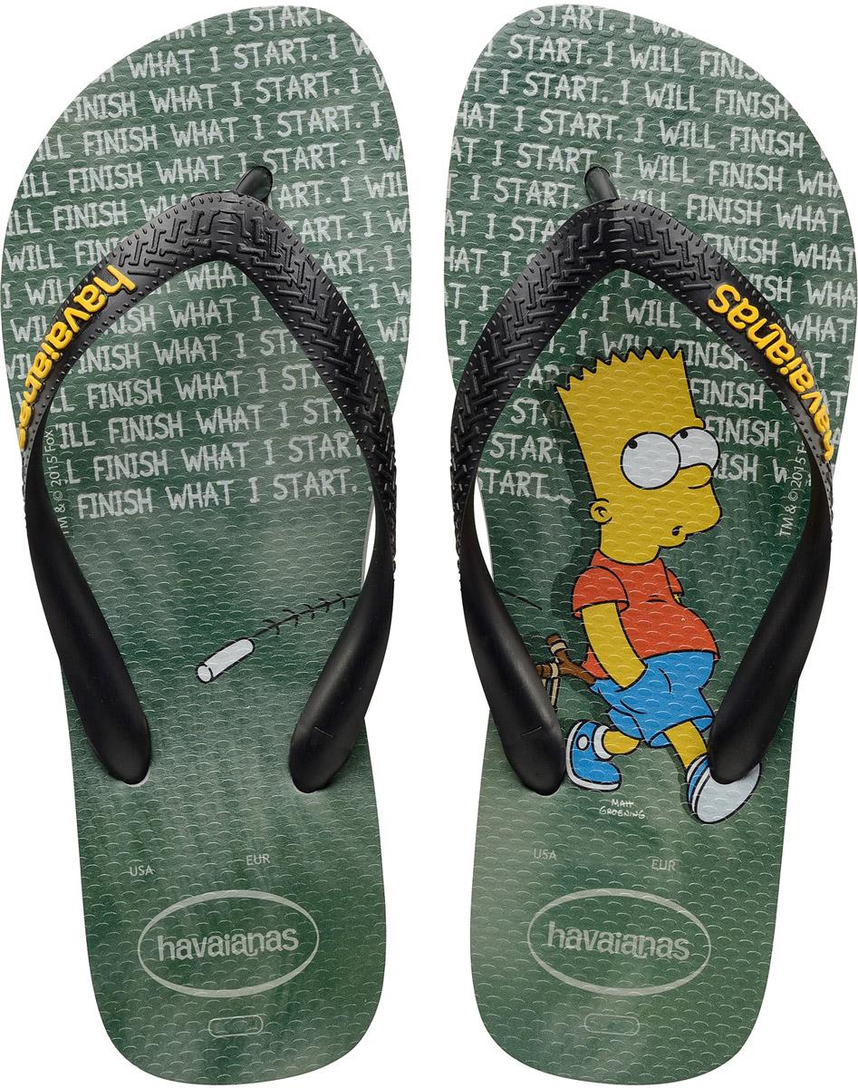 Сланцы Havaianas Simpsons, цвет: серый. 41378893498. Размер 43/44 (44/45)41378893498Модные сланцы Simpsons от Havaianas прекрасно подойдут для похода в бассейн или на пляж. Верх модели, выполненный из резины, оформлен рельефным орнаментом и названием бренда. Ремешки с перемычкой гарантируют надежную фиксацию модели на ноге. Подошва выполнена из материала ЭВА. Рифление на верхней поверхности подошвы предотвращает выскальзывание ноги. Рельефное основание подошвы обеспечивает уверенное сцепление с любой поверхностью.