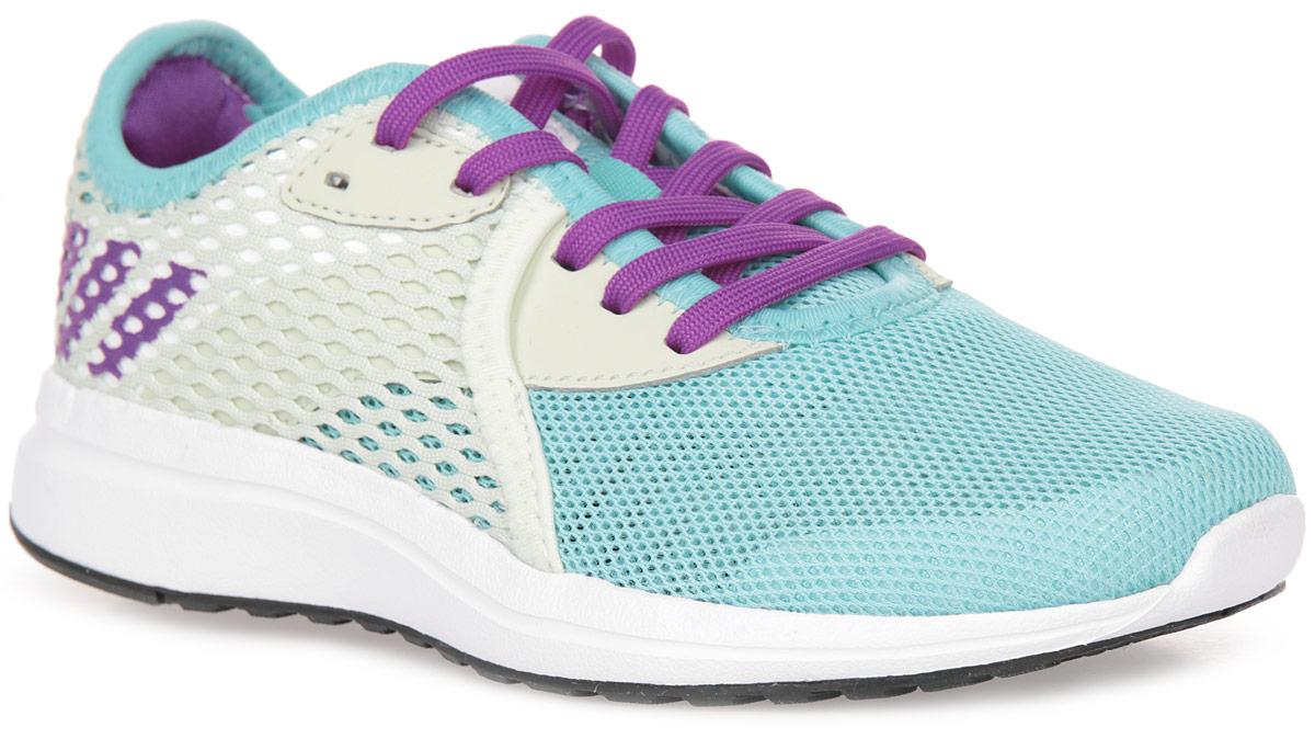 Кроссовки для девочки adidas Durama 2 k, цвет: белый, голубой, фиолетовый. BA7411. Размер 5 (37)BA7411Детские беговые кроссовки, в которых юным чемпионам будет удобно в течение всего дня. Промежуточная подошва из пенного материала cloudfoam поглощает ударные нагрузки, смягчая каждый шаг и прыжок. Сетчатый верх хорошо вентилирует подвижные ножки. Цепкая резиновая подошва прослужит долгое время.