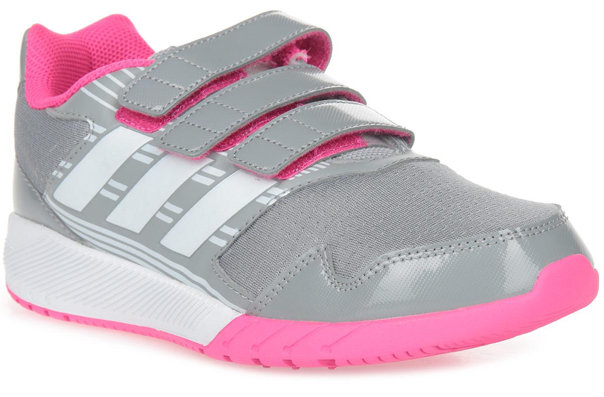 Кроссовки для девочки adidas AltaRun CF K, цвет: серый, белый, фиолетовый. BA7917. Размер 3 (35)BA7917В этих детских беговых кроссовках удобно как играть, так и заниматься спортом. Прочная и при этом гибкая конструкция обеспечивает ежедневный комфорт. Дышащий верх из сетки дополнен вставками, поддерживающими стопу в правильном положении. Двухцветная промежуточная подошва в спортивном стиле и ремешки на липучках.