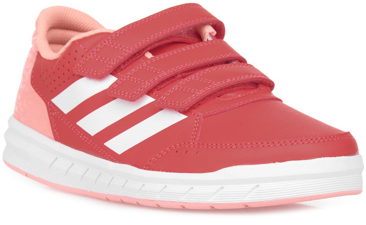 Кроссовки для девочки adidas AltaSport CF K, цвет: розовый, красный, белый. BA9531. Размер 3,5 (35,5)BA9531Удобные детские кроссовочки для активных игр и занятий. Легкий и прочный верх из искусственной кожи дополнен немаркой резиновой подошвой, которая идеально подходит для физкультуры в школьном зале. Ремешки на липучках для удобного снимания и надевания.