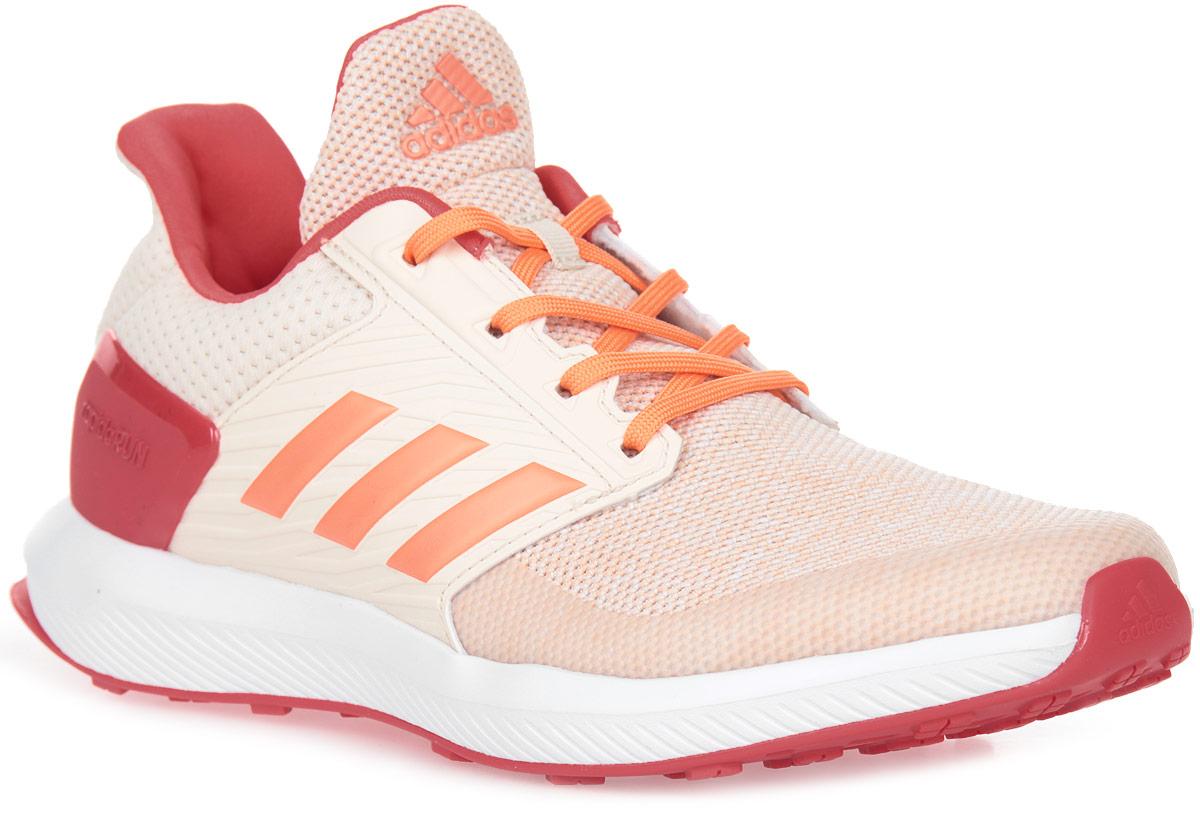 Кроссовки для девочки adidas RapidaRun K, цвет: белый, розовый, коралловый. BA9435. Размер 4,5 (36,5)BA9435Юным ножкам, которые бегают и прыгают весь день, нужна хорошая амортизация. Эти детские беговые кроссовки дополнены мягкой стелькой cloudfoam SURROUND с эффектом памяти, которая поглощает ударную нагрузку. Сетчатый верх со специальными вставками обеспечивает дополнительную поддержку в передней и средней частях стопы, а также в области пятки. Каркас задника из термополиуретана для дополнительной поддержки.Стелька cloudfoam SURROUND из пены с эффектом памяти плотно прилегает к стопе, обеспечивая безупречный комфорт.