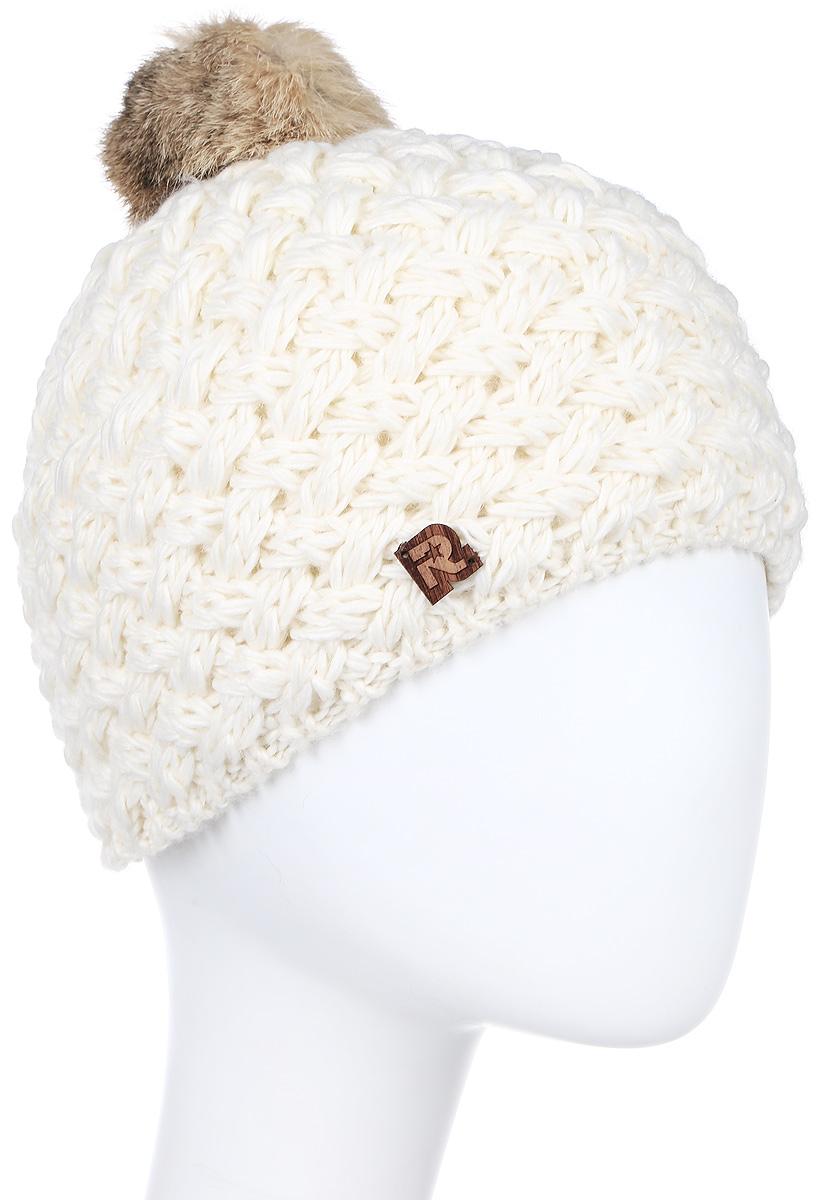 ШапкаICE 8519Теплая вязаная шапка R.Mountain белоснежно-белого цвета с помпоном из натурального меха. Идеальна для зимних холодов, внутри имеет плюшевую подкладку, для самой комфортной посадки на голову и удобной носки. Фасон шапки придает образу своей обладательницы необычайную нежность и женственность, а приятный на ощупь материал дарит ощущение тепла и комфорта. Сочетать этот головной убор можно с любыми цветами гардероба. Помпон выполнен из натурального кроличьего меха.