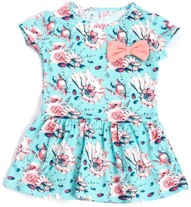 Платье для девочки Mark Formelle, цвет: голубой, розовый. 885-0_14923. Размер 146885-0_14923Модное платье Mark Formelleвыполнено из натурального хлопка. Модель с круглым вырезом горловины и короткими рукавами оформлено цветочным принтом и бантиком.
