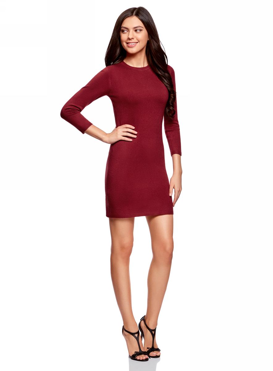 Платье oodji Ultra, цвет: бордовый меланж. 63912222-1B/46244/4901M. Размер M (46)63912222-1B/46244/4901MТрикотажное платье oodji изготовлено из качественного смесового материала. Облегающая модель выполнена с круглой горловиной и рукавами 3/4.
