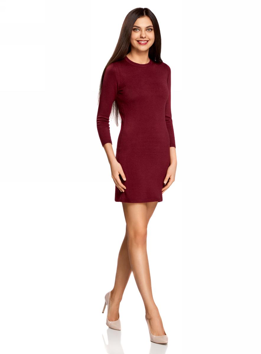 Платье oodji Ultra, цвет: бордовый. 63912222-1B/46244/4900N. Размер S (44)63912222-1B/46244/4900NТрикотажное платье oodji изготовлено из качественного смесового материала. Облегающая модель выполнена с круглой горловиной и рукавами 3/4.