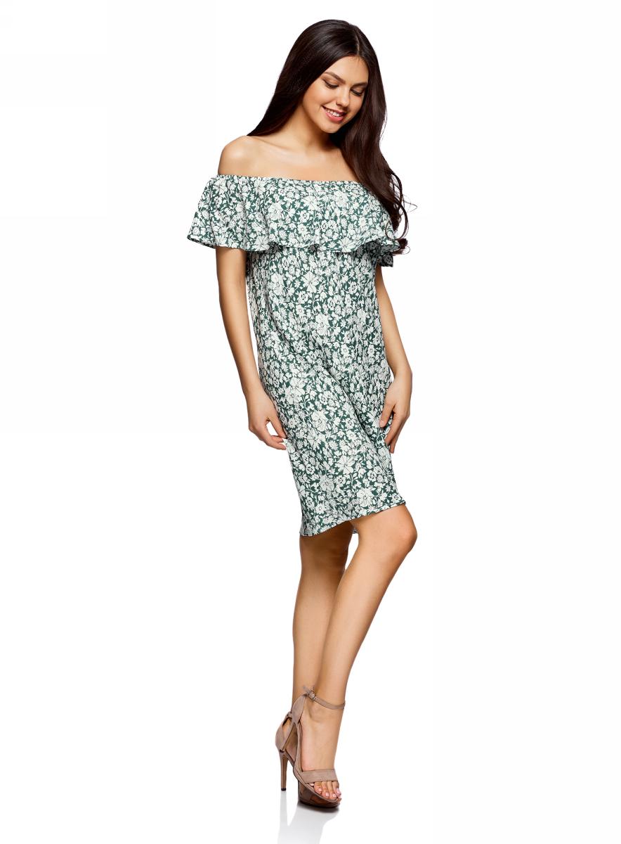 Платье oodji Ultra, цвет: темно-зеленый, белый, цветы. 11911020/42800/6912F. Размер 40/164 (46-164)11911020/42800/6912FЛегкое летнее платье выполнено из вискозы. Модель миди-длины с открытыми плечами.