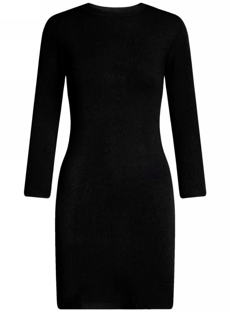 Платье oodji Ultra, цвет: черный. 63912222-1B/46244/2900N. Размер M (46)63912222-1B/46244/2900NТрикотажное платье oodji изготовлено из качественного смесового материала. Облегающая модель выполнена с круглой горловиной и рукавами 3/4.