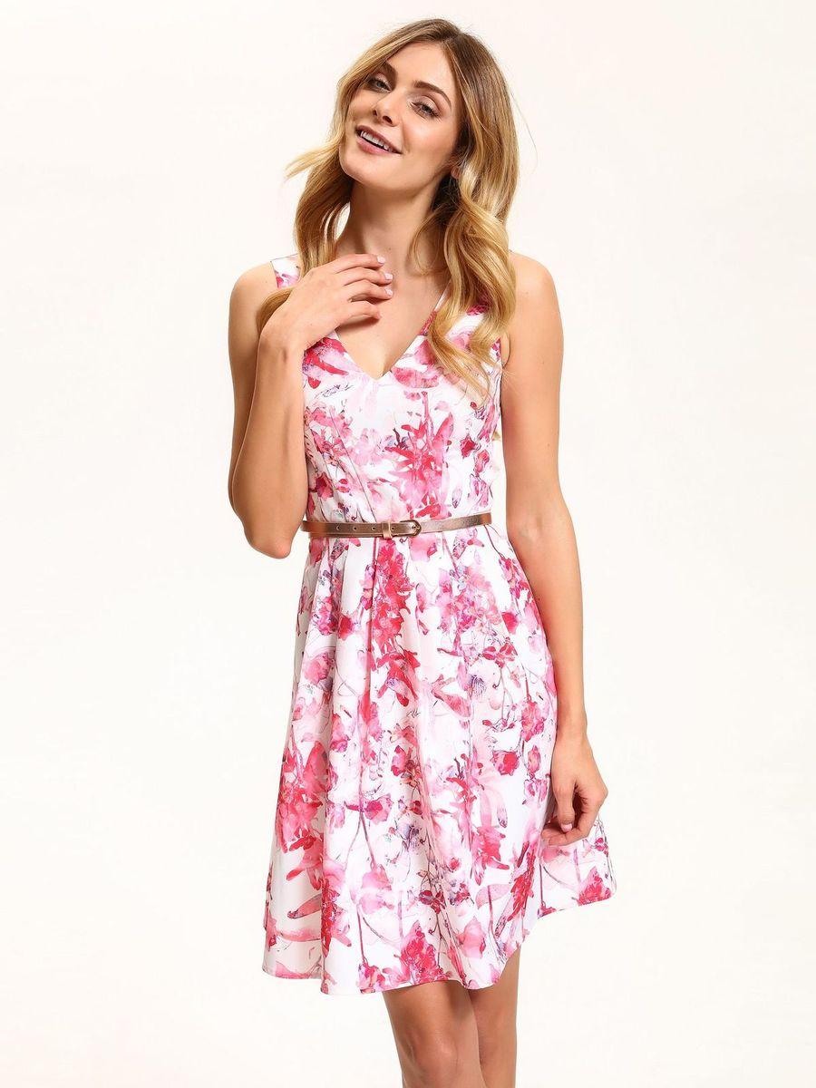 Платье Top Secret, цвет: белый, розовый. SSU1864BI. Размер 34 (42)SSU1864BIЭлегантное платье Top Secret, изготовленное из высококачественного полиэстера с добавлением эластана, станет отличным дополнением к вашему гардеробу. Модель с V-образным вырезом горловины без рукавов на спинке застегивается на потайную застежку-молнию. Складки на юбке дарят образу романтичность. В поясе модель дополнена нешироким ремешком. Стильное платье оформлено нежным цветочным принтом.