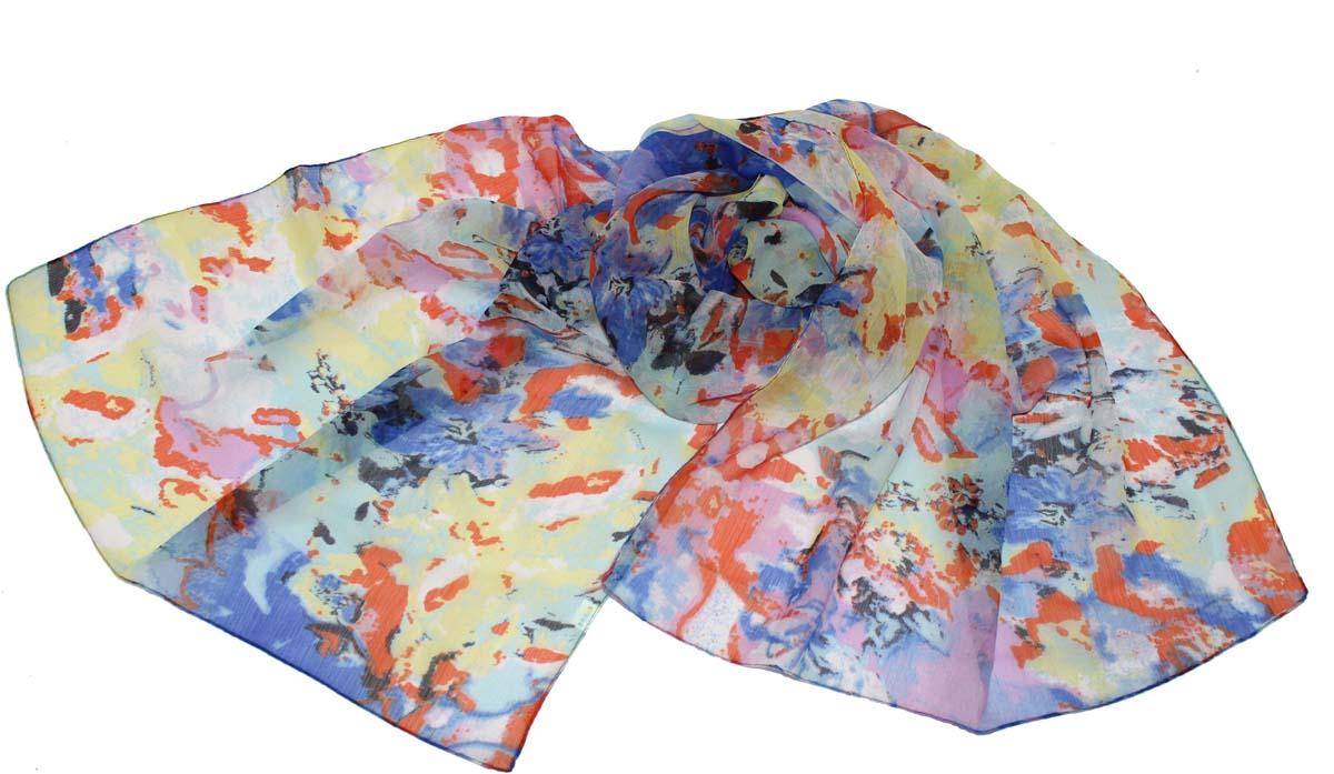 Шарф женский Ethnica, цвет: синий, желтый. 262040. Размер 50 см х 170 см262040Стильный шарф привлекательной расцветки изготовлен из 100% вискозы. Он удачно дополнит ваш гардероб и поможет создать новый повседневный образ, добавить в него яркие краски. Отличный вариант для тех, кто стремится к самовыражению и новизне!