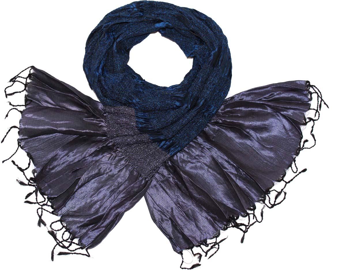 Шарф женский Ethnica, цвет: синий. 394335н. Размер 55 см х 180 см394335нСтильный шарф привлекательной расцветки с кисточками по краю изготовлен из 100% вискозы. Он удачно дополнит ваш гардероб и поможет создать новый повседневный образ, добавить в него яркие краски. Отличный вариант для тех, кто стремится к самовыражению и новизне!