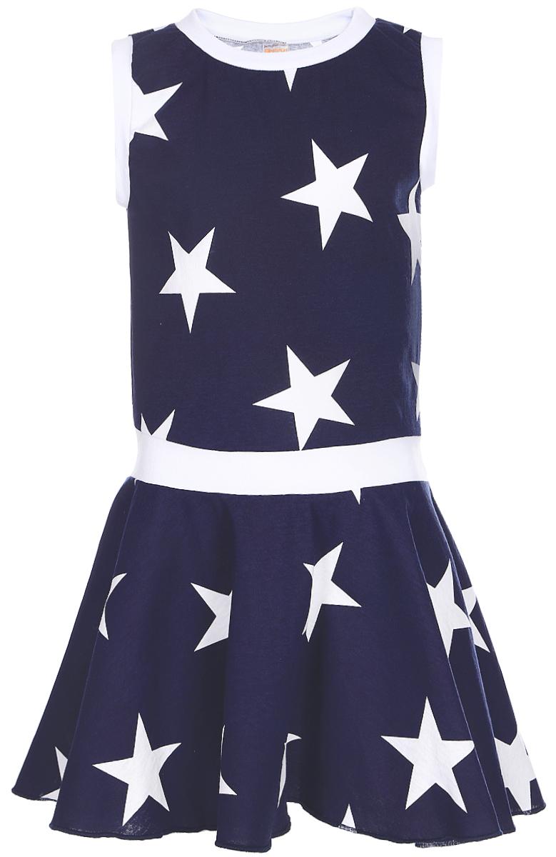 Платье для девочек КотМарКот, цвет: темно-синий, белый. 21614. Размер 9821614Яркое платье для девочки КотМарКот выполнено из качественного хлопка. Модель прямого кроя с юбкой-клеш и без рукавов, оформлена принтом в виде звезд. Модель дополненакруглым вырезом горловины.