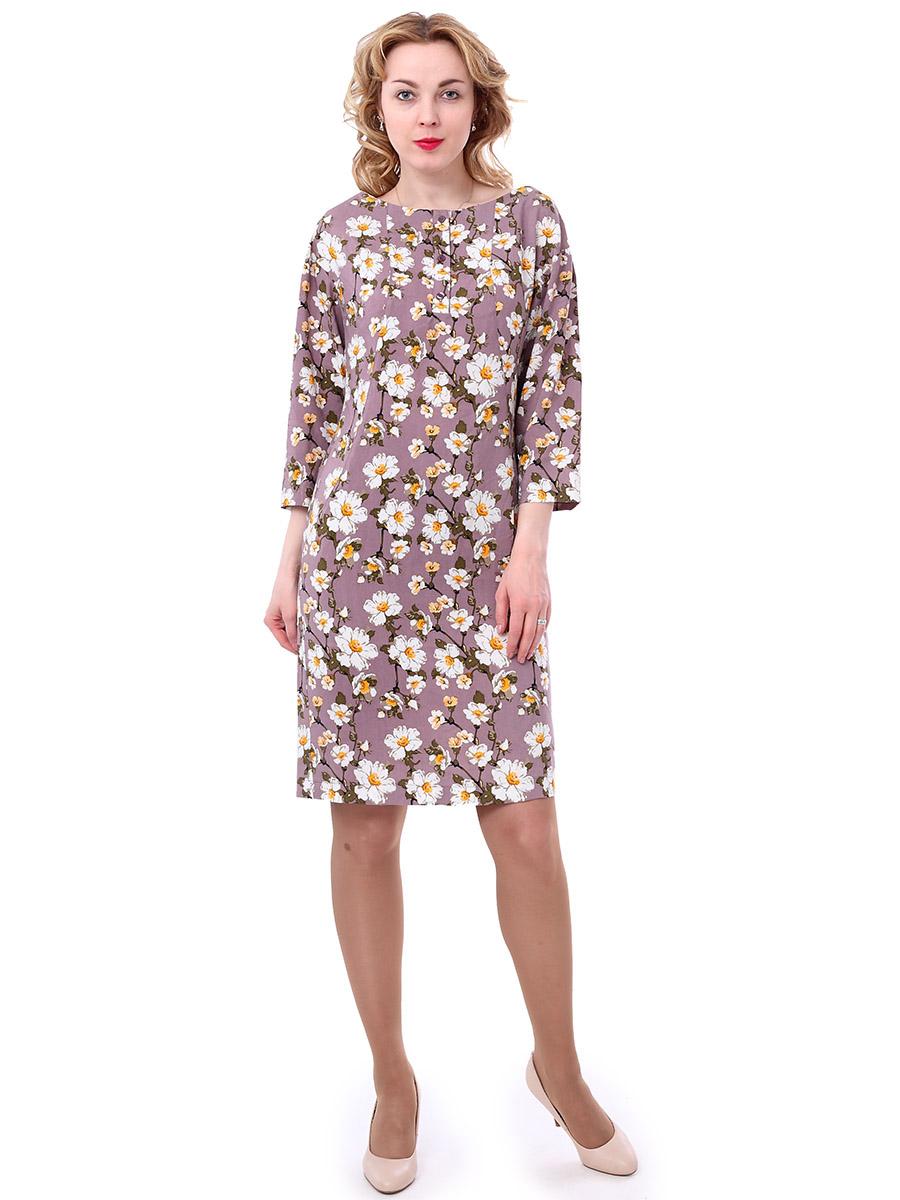 Платье женское F5, цвет: фуксия, коричневый, белый. 171003_13842. Размер L (48)171003_13842, Rayon, apple flowersЖенское платье F5 выполнено из вискозы и оформлено принтом с изображением цветов. Платье с круглым вырезом горловины и длинными рукавами. Застегивается модель на три пуговицы, расположенные спереди.