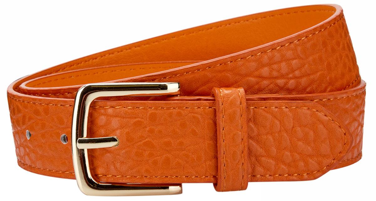 Ремень женский oodji, цвет: темно-оранжевый . 45100948B/32793/5900N. Размер 10045100948B/32793/5900NРемень из искусственной кожи под рептилию