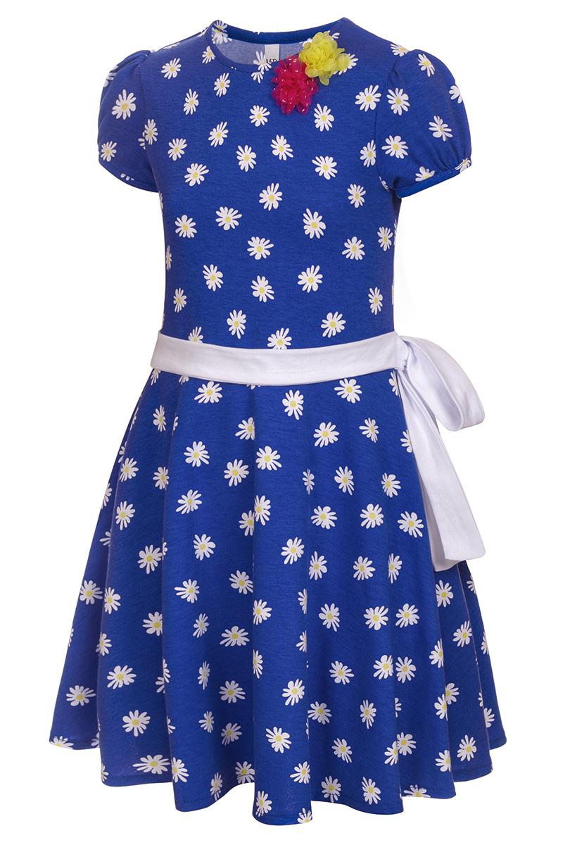 Платье для девочки M&D, цвет: синий, белый, желтый. SJD27062M09. Размер 128SJD27062M09Платье для девочки от бренда M&D приведет в восторг вашу юную модницу! Платье изготовлено из натурального хлопка. Модель с круглым вырезом горловины, отрезной талией и короткими рукавами-фонариками оформлена принтом контрастного цвета. Расклешенная юбочка придает платью воздушности и очарования. Талию подчеркивает широкий трикотажный поясок. В таком платье ваша малышка всегда будет в центре внимания.