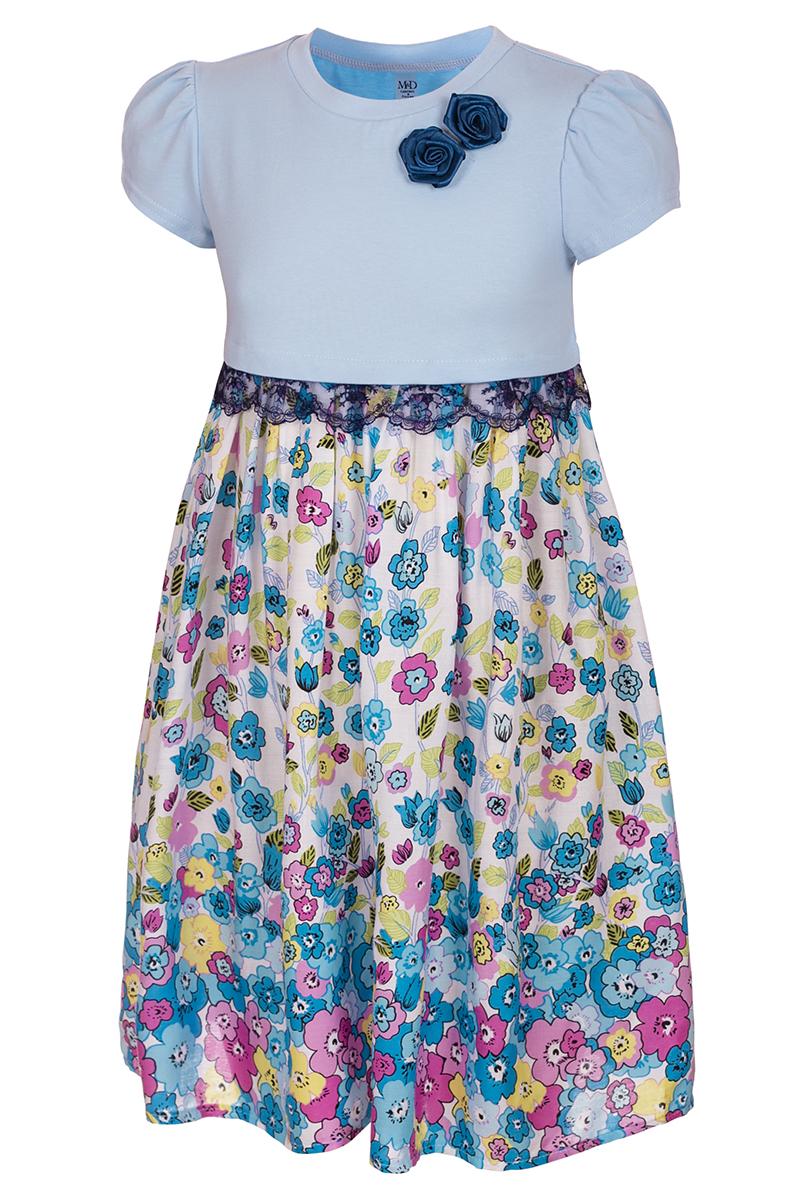 Платье для девочки M&D, цвет: белый, голубой. SWD27046M77. Размер 128SWD27046M77Платье для девочки от бренда M&D приведет в восторг вашу юную модницу! Платье изготовлено из натурального хлопка с отделкой из полиэстера. Модель с круглым вырезом горловины, отрезной талией и короткими рукавами-фонариками. Расклешенная юбочка с цветочным принтом придает платью воздушности и очарования. Талию подчеркивает кружевная тесьма контрастного цвета. В таком платье ваша малышка всегда будет в центре внимания.
