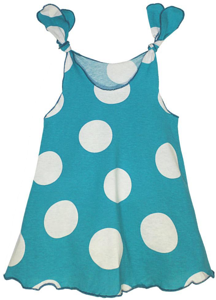 Платье для девочки КотМарКот, цвет: бирюзовый, белый. 21417. Размер 11021417Платье для девочки КотМарКот выполнено из качественного материала. Модель на бретельках оформлена принтом в горох.
