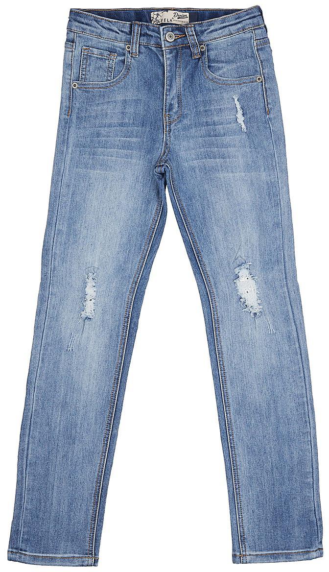 Джинсы для девочки Sela, цвет: голубой джинс. PJ-635/529-7142. Размер 152, 12 летPJ-635/529-7142Стильные джинсы для девочки Sela выполнены из качественного эластичного хлопка с эффектом потертостей и разрывов. Джинсы прямого кроя и стандартной посадки на талии застегиваются на пуговицу и имеют ширинку на застежке-молнии. На поясе имеются шлевки для ремня. Модель представляет собой классическую пятикарманку: два втачных и накладной карманы спереди и два накладных кармана сзади.