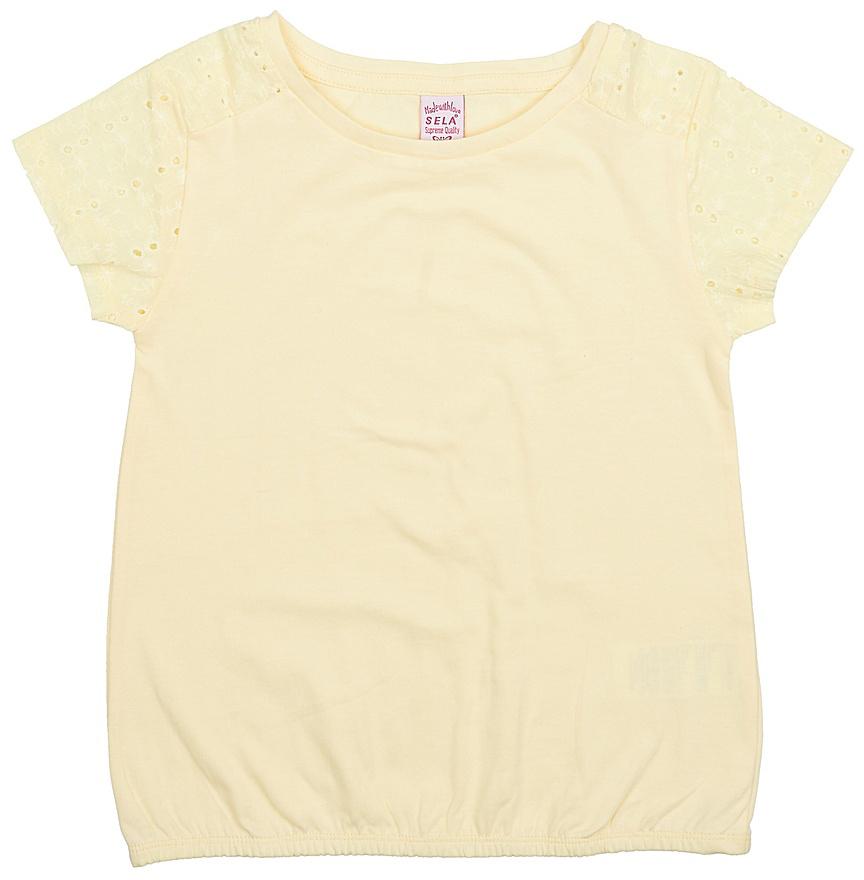 Футболка для девочки Sela, цвет: светло-желтый. Ts-611/982-7224. Размер 146, 11 летTs-611/982-7224Стильная футболка для девочки Sela выполнена из натурального хлопка. Модель прямого кроя с круглым вырезом горловины и короткими рукавами-реглан, оформленными вышивкой и перфорацией, подойдет для прогулок и дружеских встреч и будет отлично сочетаться с джинсами и брюками, а также гармонично смотреться с юбками. Низ изделия собран на резинку.