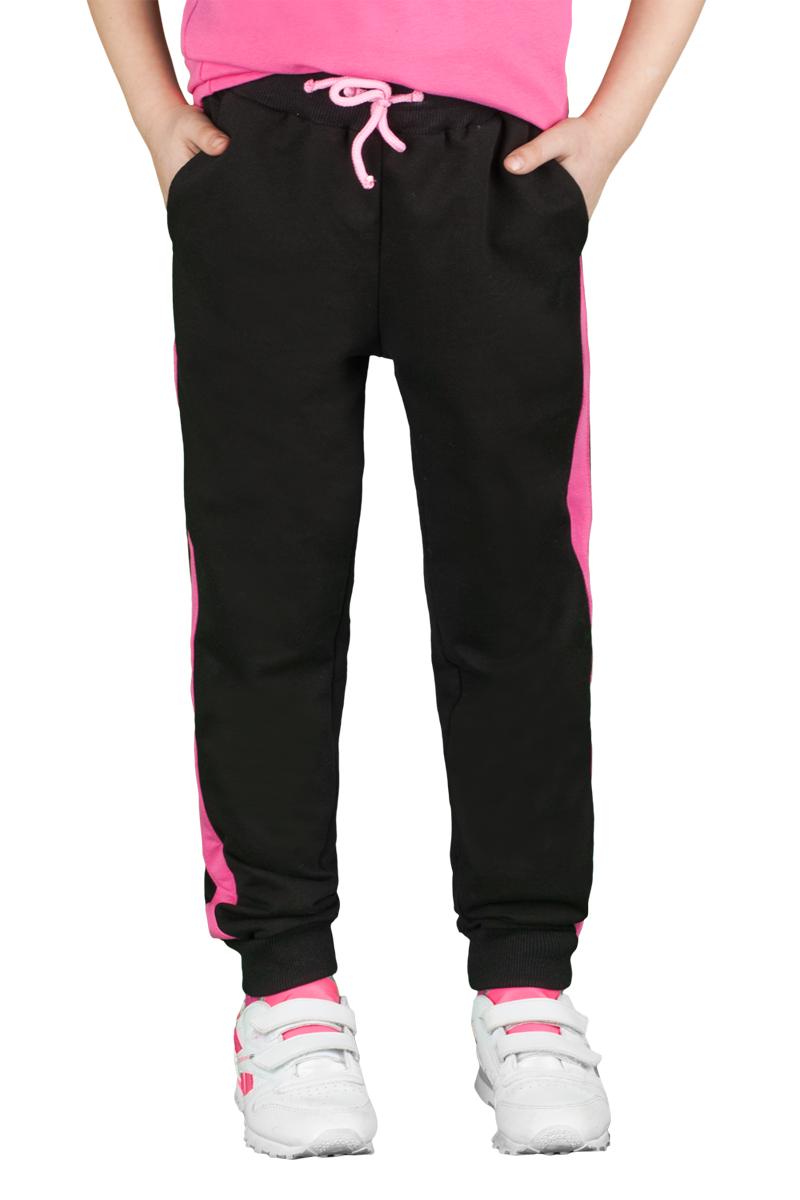 Брюки спортивные для девочки Boom!, цвет: черный, розовый. 70800_BLG_вар.1. Размер 164, 12-13 лет70800_BLG_вар.1Спортивные брюки для девочки Boom! выполнены из хлопка с добавлением полиэстера и лайкры. Модель снабжена резинкой на талии с затягивающимся шнурком для регулировки посадки и боковыми карманами, дополнена лампасами розового цвета. Низ брючин отделан эластичным материалом. Модель имеет свободный крой и не стесняет движений. Удобные и практичные брюки отлично подходят для занятий физкультурой и летних прогулок.
