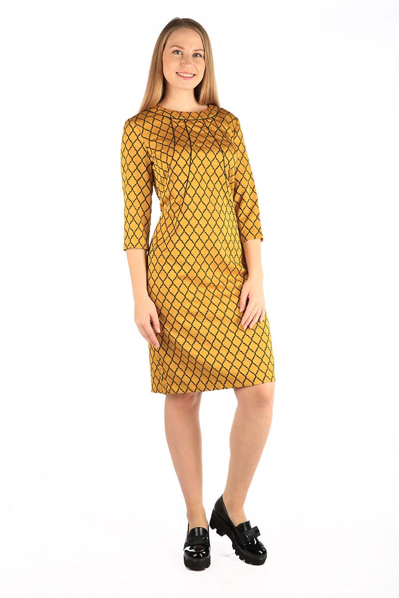 Платье Milton, цвет: желтый. WD-2607F. Размер 50WD-2607FПлатье полуприлегающего силуэта, с втачным рукавом длиной 3/4. По переду от горловины - фигурные подрезы к боковы швам, отделанные кантом. По низу спинки - шлица.