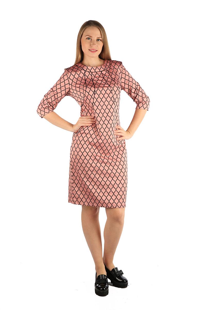 Платье Milton, цвет: розовый. WD-2607F. Размер 48WD-2607FПлатье полуприлегающего силуэта, с втачным рукавом длиной 3/4. По переду от горловины - фигурные подрезы к боковы швам, отделанные кантом. По низу спинки - шлица.