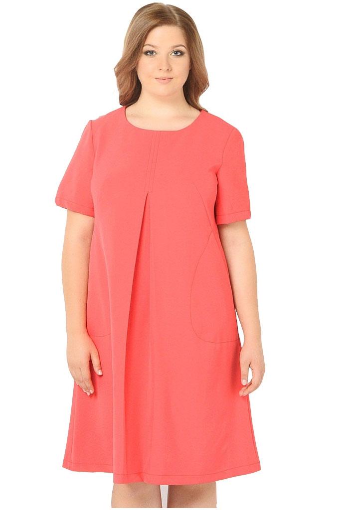 Платье Milton, цвет: красный. WD-2608F. Размер 54WD-2608FПлатье А-образного силуэта с втачными короткими рукавами, по переду от груди вниз - встречная складка, в наклонных вытачках переда обработаны внутренние карманы.
