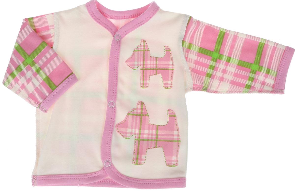 Кофточка для девочки КотМарКот, цвет: розовый. 7213. Размер 627213Кофточка для девочки КотМарКот выполнена из качественного материала. Модель с длинными рукавами застегивается на кнопки.