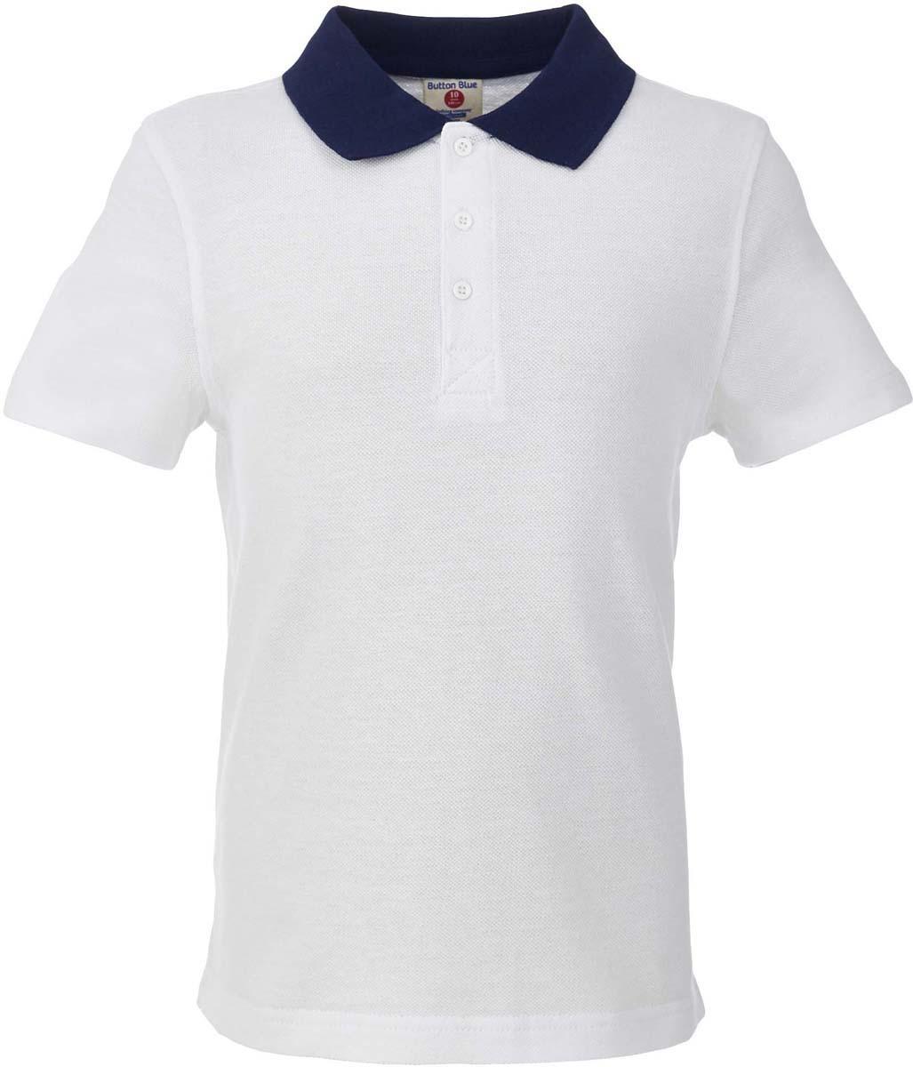 Поло для мальчика Button Blue, цвет: белый. 217BBBS14020200. Размер 152, 12 лет217BBBS14020200Прекрасная альтернатива сорочке - белое поло! По удобству и комфорту, поло для мальчика в школу не менее удобно, чем футболка с коротким рукавом, но поло выглядит строже и наряднее. Небольшой цветовой акцент (воротник и внутренняя планка) придает модели изюминку.