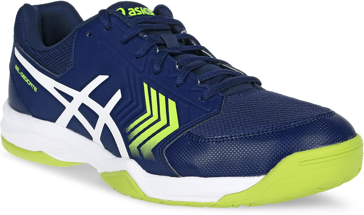 Кроссовки для тенниса мужские Asics Gel-Dedicate 5, цвет: темно-синий. E707Y-4901. Размер 9 (41)E707Y-4901Усиленная структура со всех сторон стопы делает кроссовки Asics Gel-Dedicate 5 идеальными для тенниса вне зависимости от того, являетесь ли вы новичком или играете достаточно регулярно. Эти мужские теннисные кроссовки с технологией Asics дарят комфорт и обеспечивают стабильность от первой подачи до матч-пойнта. Подрезай, обходи, иди на рывок – весь корт твой. С системой амортизации в задней части ступни Asics Forefoot GEL Cushioning System, однородной резиновой поверхностью подошвы и гибким верхом эти теннисные кроссовки снижают отдачу при резких движениях и обеспечивают максимальный комфорт и точную посадку по ноге. Кроссовки Asics Gel-Dedicate 5 - идеальный выбор для игроков в теннис, которым необходимо соответствующая обувь.