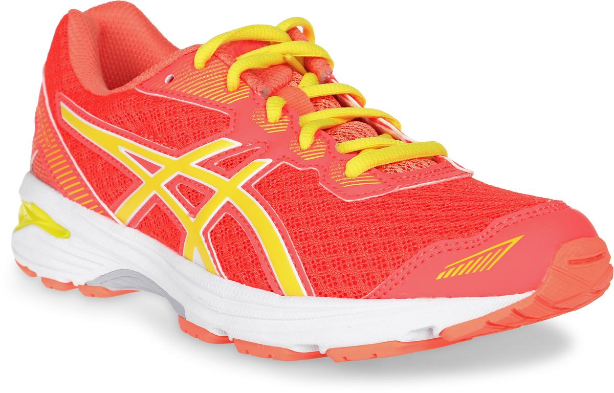 Кроссовки детские Asics Gt-1000 5 Gs, цвет: коралловый, оранжевый, желтый. C619N-2003. Размер 2 (32)C619N-2003Мечтает ли ваш ребенок однажды стать марафонцем или желает быть самым ловким на спортплощадке, детские беговые кроссовки Asics Gt-1000 5 Gs - то, что нужно: амортизация и защита ногам обеспечены. Комфортные упругие кроссовки будто созданы для непрерывной активности. Эта высококлассная модель буквально напичкана техническими фишками. Система поддержки в задней части стопы Gel Support System уменьшает ударное воздействие и делает приземление пружинистым. Средняя подошва Duomax из двух материалов с различной плотностью гарантирует устойчивость стопы. Ощущение легкости в невесомой дышащей модели. Видимость в темноте благодаря светоотражающим деталям.