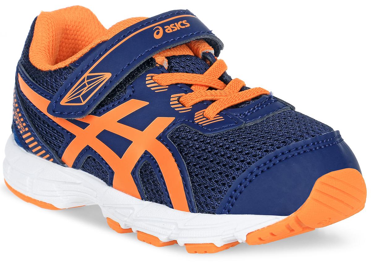 Кроссовки детские Asics Gt-1000 5 Ts, цвет: темно-синий, оранжевый. C621N-4930. Размер K4 (18)C621N-4930Кроссовки Asics Gt-1000 5 Ts, выполненные из сетчатого текстиля и искусственной кожи, оформлены фирменным принтом. На ноге модель фиксируется с помощью шнурков и ремешка с застежкой-липучкой, который оформлен надписью с названием бренда. Внутренняя поверхность выполнена из сетчатого текстиля, комфортного при движении. Стелька выполнена из легкого ЭВА-материала с поверхностью из текстиля. Подошва изготовлена из легкого ЭВА-материала и оснащена вставками из резины. Поверхность подошвы дополнена рельефным рисунком.