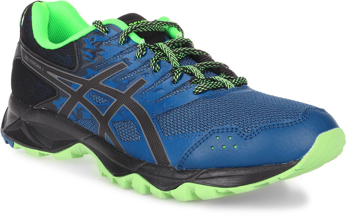 Кроссовки для бега мужские Asics Gel-Sonoma 3, цвет: синий, салатовый. T724N-4990. Размер 11H (44,5)T724N-4990Третье поколение кроссовок Asics Gel-Sonoma 3 для бега по пересеченной местности. Модель обладает высокой износостойкостью. Благодаря новому дизайну верха кроссовки обеспечивают превосходную посадку и защиту при движении. Они выполнены из лёгкого синтетического и воздухопроницаемого сетчатого материалов. Светоотражающие вставки 3M. Надежная износостойкая резина AHAR+. Asics Гель (специальный вид силикона) в носке снижает нагрузку на пятку, колени и позвоночник спортсмена. Trusstic System - литой элемент под центральной частью подошвы, предотвращающий скручивание стопы.