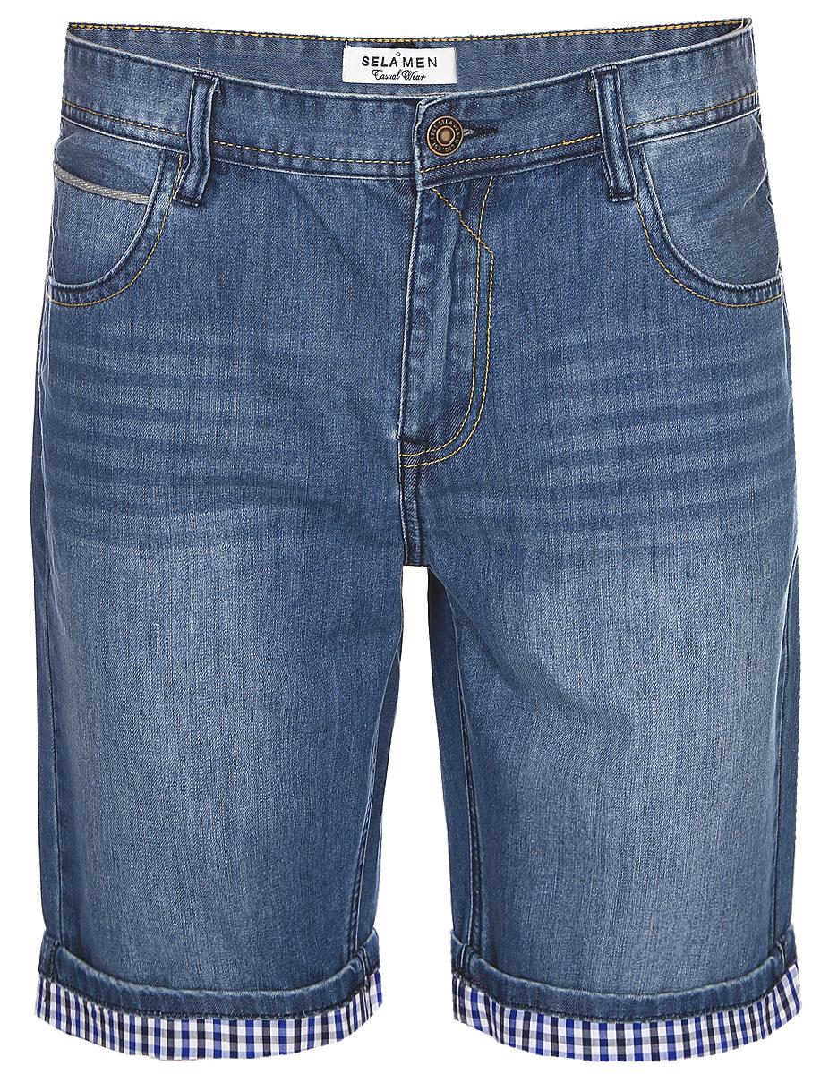 Шорты мужские Sela, цвет: темно-синий джинс. SHJ-235/1069-7213. Размер 34-32 (50-32)SHJ-235/1069-7213Стильные мужские шорты Sela, изготовленные из качественного джинсового материала с эффектом потертостей, станут отличным дополнением гардероба в летний период. Шорты прямого кроя и стандартной посадки на талии застегиваются на застежку-молнию и пуговицу. На поясе имеются шлевки для ремня. Модель дополнена двумя втачными и накладным карманами спереди и двумя накладными карманами сзади.