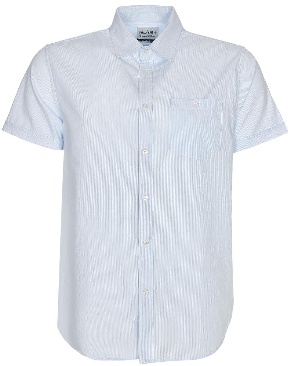 Рубашка мужская Sela, цвет: небесно-голубой. Hs-212/761-7213. Размер 44 (52)Hs-212/761-7213Классическая мужская рубашка с коротким рукавом от Sela выполнена из натурального хлопка в мелкую полоску. Модель прямого кроя с отложным воротничком застегивается на пуговицы и дополнена накладным карманом на пуговице на груди. Рубашка подойдет для офиса, прогулок и дружеских встреч и будет отлично сочетаться с джинсами и брюками.