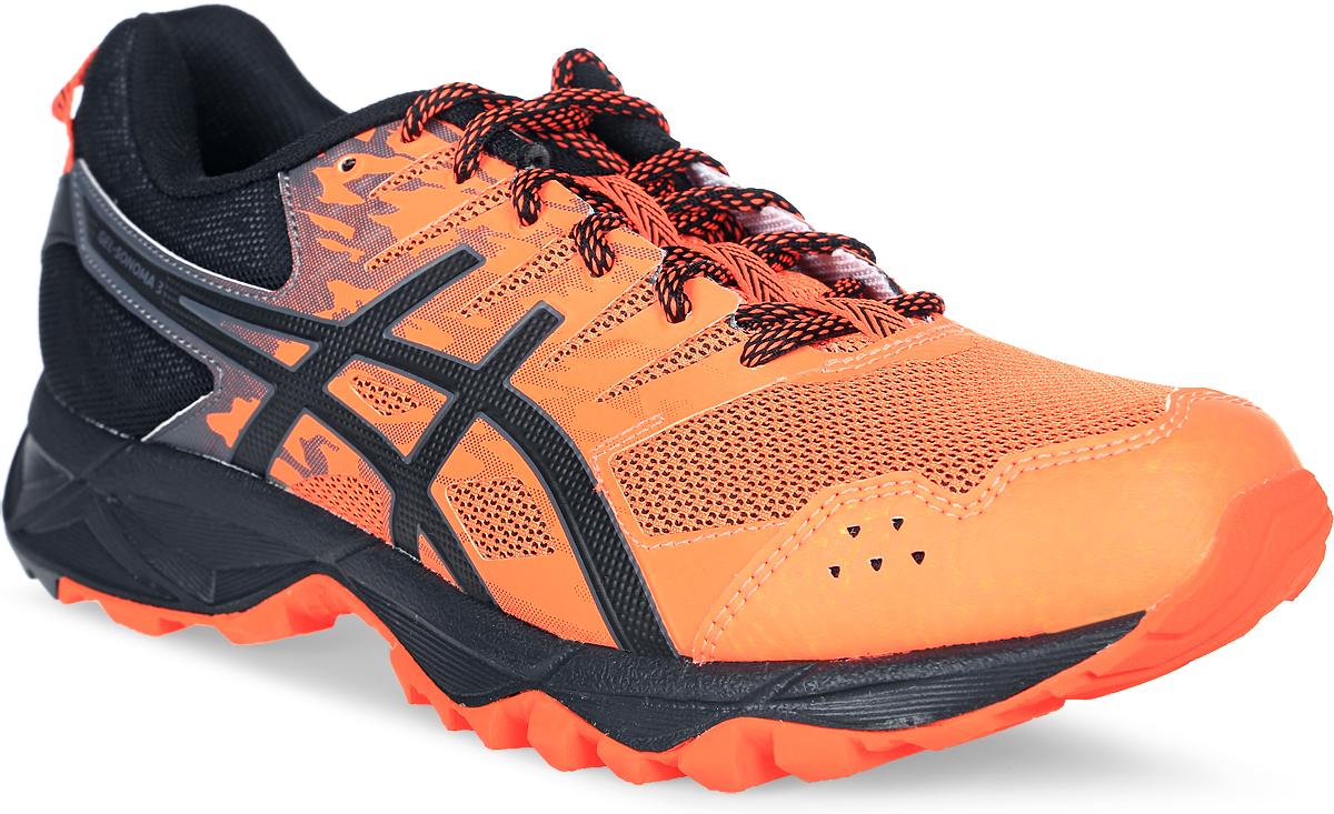 Кроссовки для бега мужские Asics Gel-Sonoma 3, цвет: оранжевый, черный. T724N-3090. Размер 8H (40,5)T724N-3090Третье поколение кроссовок Asics Gel-Sonoma 3 для бега по пересеченной местности. Модель обладает высокой износостойкостью. Благодаря новому дизайну верха кроссовки обеспечивают превосходную посадку и защиту при движении. Они выполнены из лёгкого синтетического и воздухопроницаемого сетчатого материалов. Светоотражающие вставки 3M. Надежная износостойкая резина AHAR+. Asics Гель (специальный вид силикона) в носке снижает нагрузку на пятку, колени и позвоночник спортсмена. Trusstic System - литой элемент под центральной частью подошвы, предотвращающий скручивание стопы.