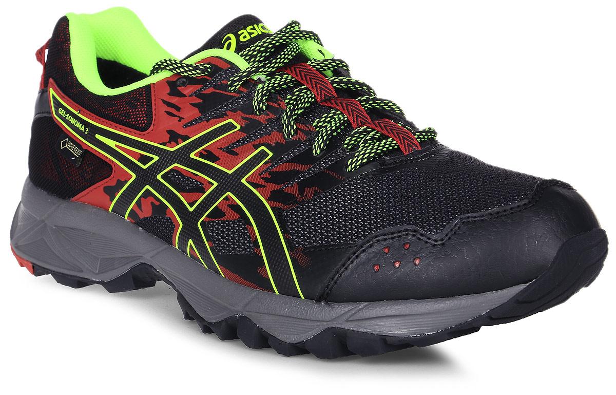 Кроссовки для бега мужские Asics Gel-Sonoma 3 G-Tx, цвет: черный, красный. T727N-2390. Размер 11H (44,5)T727N-2390В беге по пересечённой местности необходимо всю энергию сконцентрировать на достижении цели и наслаждаться моментом и великолепным пейзажем вокруг. Мужские кроссовки Asics Gel-Sonoma 3 G-Tx - это обувь, которая имеет в своем арсенале все необходимое для изменчивых, непостоянных условий кросса. С ними вы можете достигнуть всех своих целей. Эти чрезвычайно прочные кроссовки, учитывающие все особенности бега по пересеченной местности, обеспечат комфорт, устойчивость и поддержку на протяжении всего маршрута. Кроссовки GEL-Sonoma 3 G-TX предназначены для кросса на короткие и средние расстояния и по любой поверхности. Гелевый амортизатор в задней части подошвы, технология EVA для средней части и светоотражатели 3M обеспечивают надежную защиту, а внешняя поверхность подошвы со стабилизацией для кросса гарантирует стабильность и поддержку на любой поверхности.
