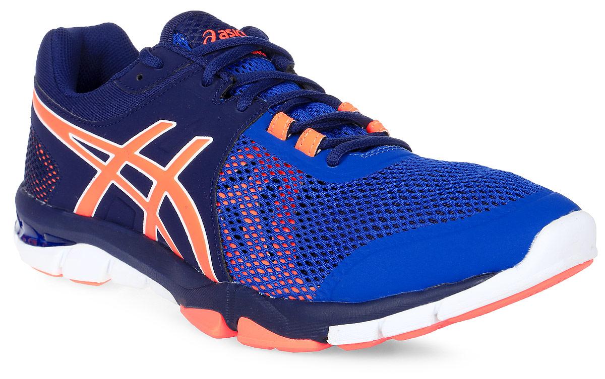 Кроссовки для фитнеса мужские Asics Gel-Craze Tr 4, цвет: темно-синий, синий, оранжевый. S705N-4930. Размер 11H (44,5)S705N-4930С кроссовками Asics Gel-Craze Tr 4, вы сможете охватить все виды деятельности: от беговой дорожки до фитнеса и тяжелой атлетики. Эта многофункциональная модель сочетает высокие защитные свойства и восприимчивость, помогая спортсмену показать себя с наилучшей стороны. С этими кроссовками вы возьмете от тренировки все, ведь они делают любой вид деятельности комфортнее, позволяя сфокусироваться на упражнении. Поддержка стопы от середины до носка обеспечит надежную фиксацию. Вы можете свободно переносить вес, покачиваясь из стороны в сторону или поворачиваясь на 360 градусов. Приседания и подъем штанги станут более комфортными благодаря более устойчивой платформе и жесткой подошве, а амортизатор GEL, поможет вам на кардиотренажерах, чтобы заставить поработать сердце. Современный дизайн, минимальное количество швов и накладываемых друг на друга элементов снижают вероятность натирания и раздражения кожи. Вы сможете сконцентрироваться на достижении новых рекордов в подъеме веса и скорости.