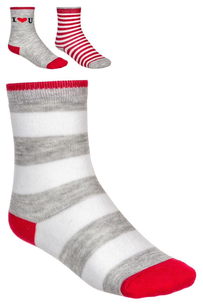 Носки детские Baykar, цвет: серый, белый, красный, 3 пары. 163512-20. Размер 10,5/12, 6-12 месяцев163512-20Детские носки Baykar изготовлены из высококачественного эластичного хлопка с добавлением полиамида. Носки имеют эластичную резинку, которая надежно фиксирует носки на ноге. В комплект входит 3 пары носков.