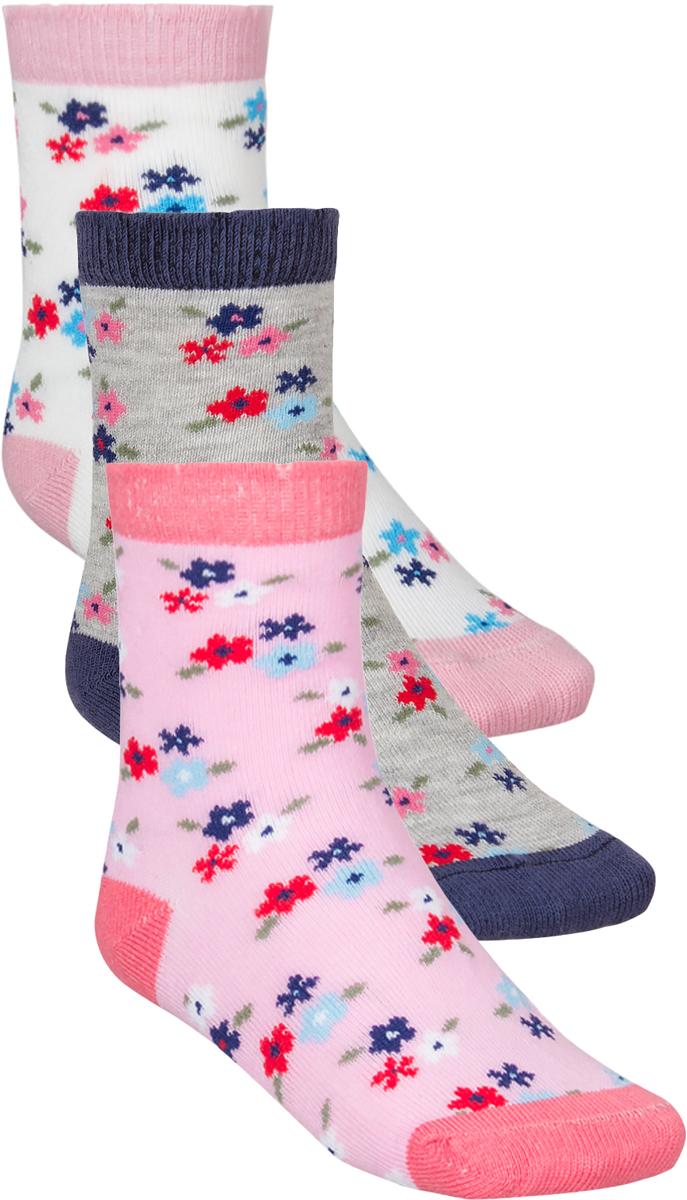 Носки для девочки Baykar, цвет: розовый, серый, белый, 3 пары. 305512-22. Размер 16,5/18, 5 лет305512-22Детские носки Baykar изготовлены из высококачественного эластичного хлопка с добавлением полиамида. Носки имеют эластичную резинку, которая надежно фиксирует носки на ноге. В комплект входит 3 пары носков.