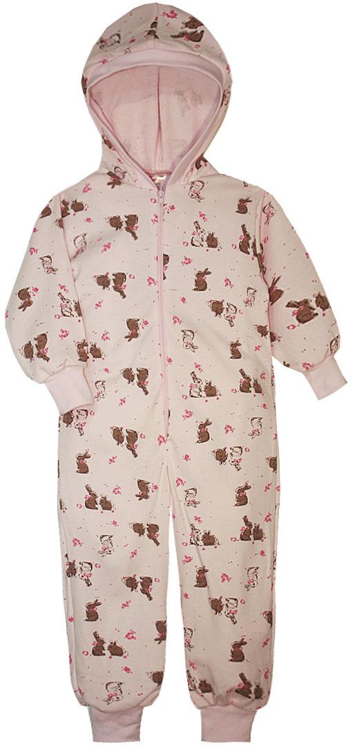 Пижама для девочки КотМарКот, цвет: розовый. 16922. Размер 98/10416922Пижама для девочки КотМарКот выполнена из натурального хлопка. Модель с капюшоном и длинными рукавами застегивается на застежку-молнию. Манжеты рукавов и низ брючин дополнены трикотажными манжетами.
