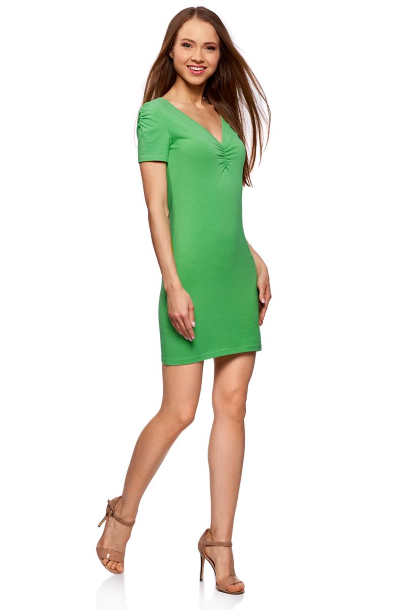 Платье жен oodji Ultra, цвет: изумрудный. 14001082B/47490/6D00N. Размер S (44)14001082B/47490/6D00NОблегающее платье oodji Ultra выполнено из качественного трикотажа. Модель мини-длины с V-образным вырезом горловиныи короткими рукавамивыгодно подчеркивает достоинства фигуры.