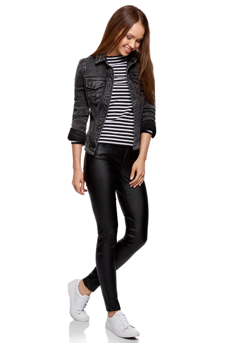 Жакет женский oodji Ultra, цвет: черный джинс. 11109035/46846/2900W. Размер 34-170 (40-170)11109035/46846/2900WКуртка джинсовая с надписью на спине